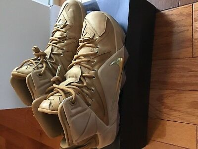 finest selection d3f10 6131a Lebron XII EXT QS 744287 700 Wheat   Gold Men s Basketball Sneakers Size 10