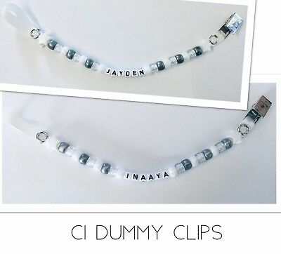 Dummy Clip Boys/Girls White Personalised Clips Any Name PLASTIC OR METAL CLIP