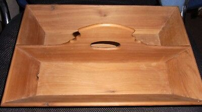 Antique Wooden 2 Compartment  Cutlery Box ( Western Red Cedar???)