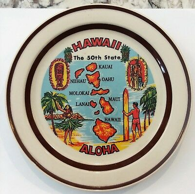 Vintage Hawaii The 50th State Islands Souvenir Collectible Plate Orbit Stoneware