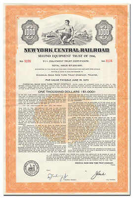 New York Central Railroad Company Bond (Hard to Find Equipment Trust Issue)