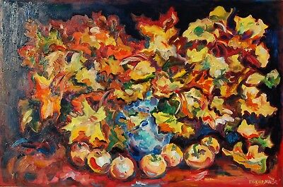 ORIGINAL OIL PAINTING FREE SHIPPING Still Life Maple Leaves And Apples 24X36 in