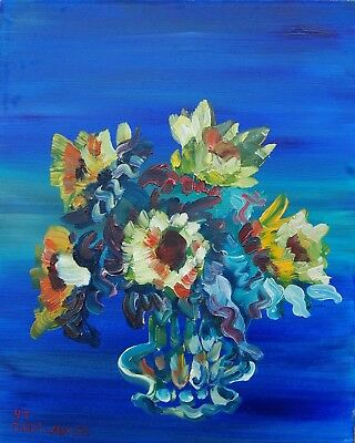 ORIGINAL OIL PAINTING Sunflowers FREE SHIPPING  20x16x3 INCHES