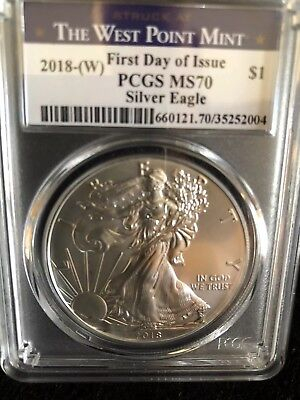 2018 (W) $1 American Silver Eagle PCGS MS70 West Point First Day Of Issue