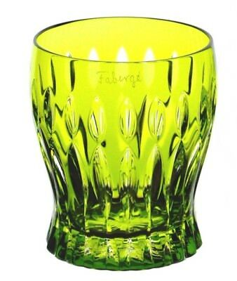 1 Faberge Na Zdorovye Lime Peridot Green Cut to Clear Cased Crystal DOF Whisky