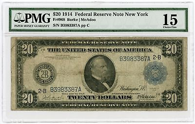 1914 Fr.968 $20 United States (New York, NY) Federal Reserve Note - PMG Fine 15