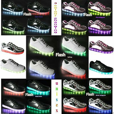 Kids Boys Girls Light Up Shoes LED Flashing Trainers Casual Sneakers Boots Size