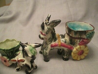 Vintage Pair of (2)  Ceramic Planter Figurine Donkey and Cart Japan/Italy