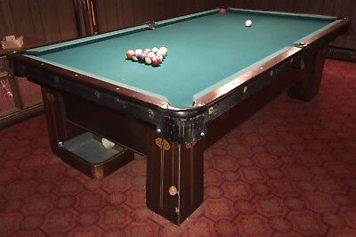 Antique Pool Table Regina Brunswick Balke-Collender Co. Monarch Arts And Crafts