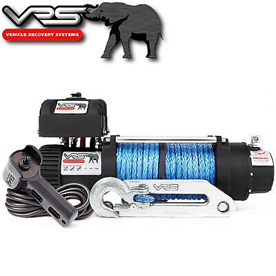 Vrs Synthetic Rope Monster Winch 9500Lb Bull Bar 4Wd 4X4 Recovery 12V Electric