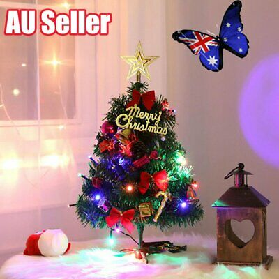 Tabletop Artificial Small Mini Christmas Tree w/ LED Lights & Ornaments Decor JO