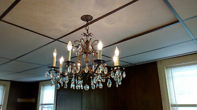 Vtg  Light Bronze 8 Candle Pineapple Crystal Chandelier Sears Model # 34-84891