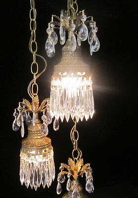 Chandelier Wrought Iron Shabby Tole cake Vintage crystal lamp swag Plugin tiered