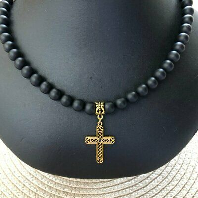 Matte Black Onyx Mens Beaded Necklace with Gold Cross Jewelry Gifts For Him