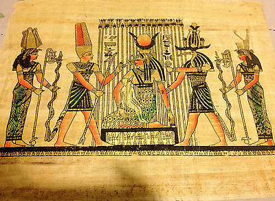 Egyptian Seated Goddess Isis nursing God Horus Hand painted Papyrus Art Egypt.