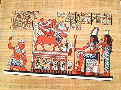 Ancient Egyptian King Ptolemy V Making Offerings to the Sacred God Apis .