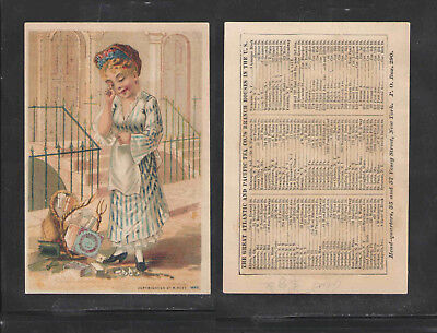 1890s THE GREAT ATLANTIC AND PACIFIC TEA CO { LADY CRYING } VICTORIAN TRADE CARD