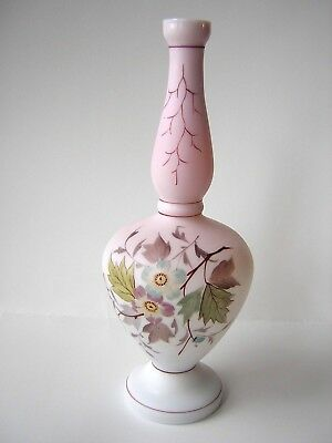 Antique Bristol Glass Vase Satin Glass Finish Hand Blown Hand Painted Flowers