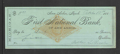 1881 FIRST NATIONAL BANK ANN ARBOR MICHIGAN w/ IRS 2¢ PRINTED STAMP