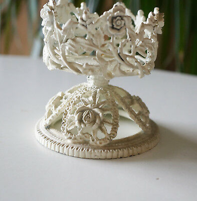 Antique Vintage? Cast Metal Small Round Cylinder Holder? Roses Shabby Style