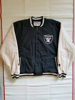 eab51388ce6 Vintage 90s Champion Oakland Raiders Spellout Full Zip Jacket NFL Mens Size  XL