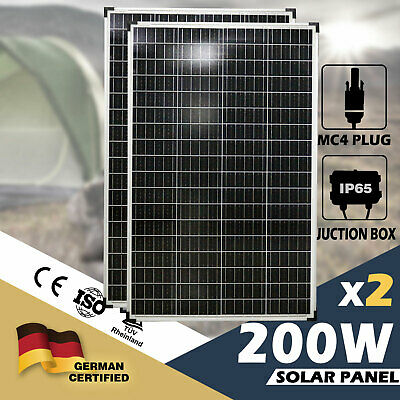 2x 200W Solar Panel 12V Mono Caravan Camping Battery Charging MC4 Plug Included