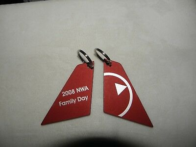 "Northwest Airlines Key Chain ""family Day 2008"" W/last Logo Tail Collectible Gift"