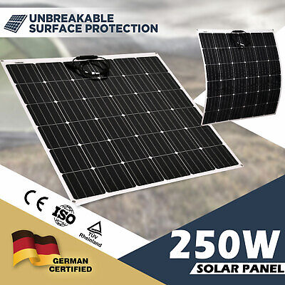 250W Flexible Solar Panel 12V Mono Caravan Camping Battery Charge MC4 Connector