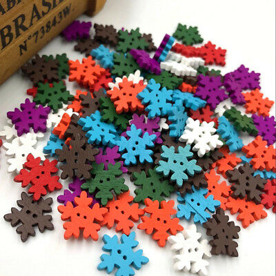 New 50/100pcs Mix Christmas snowflake Wood Buttons 18 mm Sewing Craft  WB196