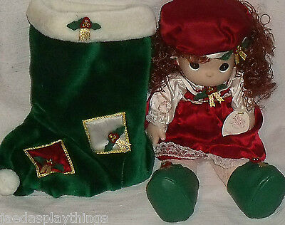 """Precious Moments Doll HOLLY in Stocking 1999 Christmas Enesco QVC Exc 16"""""""