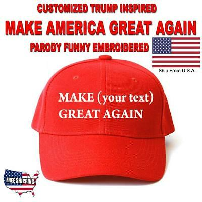 Customized MAKE AMERICA GREAT AGAIN HAT Trump Inspired PARODY FUNNY EMBROIDERED+
