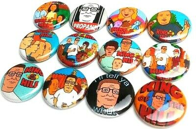 "12 KING of the HILL - Pinbacks 1"" Pins Badges One Inch Buttons Hank TV Cartoon"
