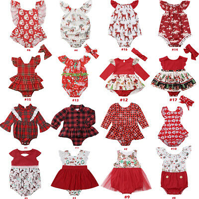AU Newborn Baby Girls Christmas Plaid Romper Bodysuit Jumpsuit Outfits Clothes