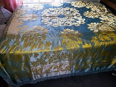 San Leucio Silk Damask Bedspread Gold Powder/French Blue Damasco A Mano S Leucio