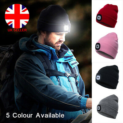 UK LED Beanie Hat With USB Rechargeable Battery 5 Hours High Powered Light Gifts