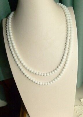 Jewellery - Lovely Two Strand Vintage White Milk Glass Bead Necklace 900