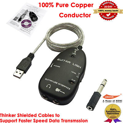 USB Guitar Interface Link Cable for PC/Mac Computer Recording and a 1/4-Inch/3.5