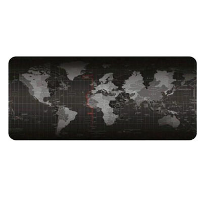 World Map Gaming Mouse Pad - Black Large Desk Pad Non-slip Rubber 300*600*2mm