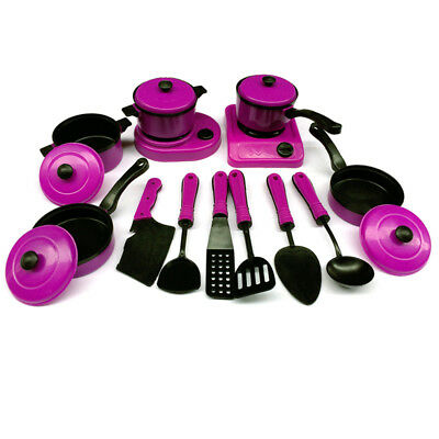 13PCS Kid Play House Toy Kitchen Cooking Pots Pans Food Dishes Cookware Toy Set