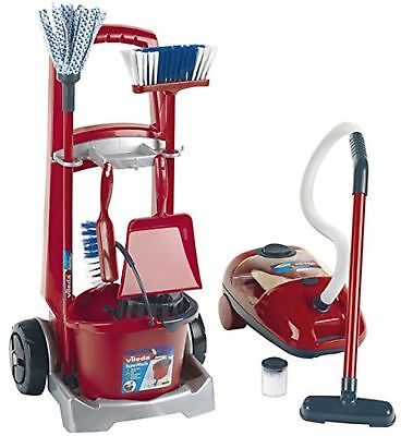Theo Klein 6742 - Vileda Cleaning Trolley With Vacuum Cleaner