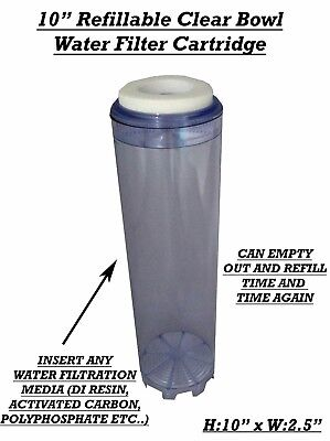 """10"""" Refillable Water Filter Cartridge Refill with DI Resin,Carbon,Polyphosphate"""