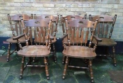 Set Of Six vintage solid oak country style Chairs