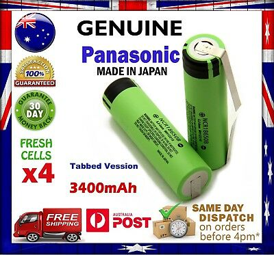 4x Panasonic NCR18650B 3400mAh Li-Ion TABBED Rechargeable Battery GENUINE