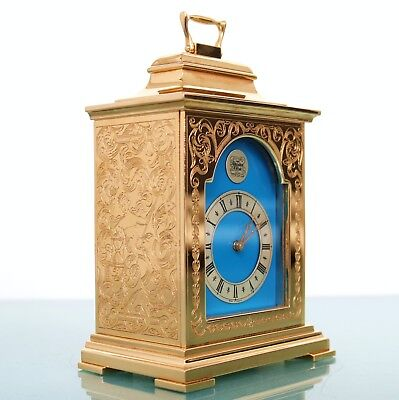 Vintage THWAITES AND REED CARRIAGE Mantel Clock FULLY GILDED!! 8 days BLUE Dial!