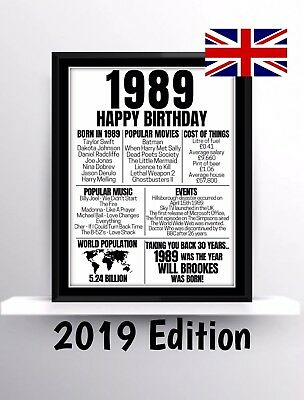 30th Birthday Gift Present Poster Print Back In 1989 - 2019 Edition Milestone