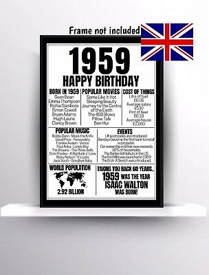 60th Birthday Gift Present Poster Print Back In 1959