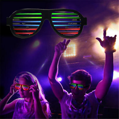 Sound Activated Shutter Flashing LED Multicolor Shades Rave Glasses Party Music