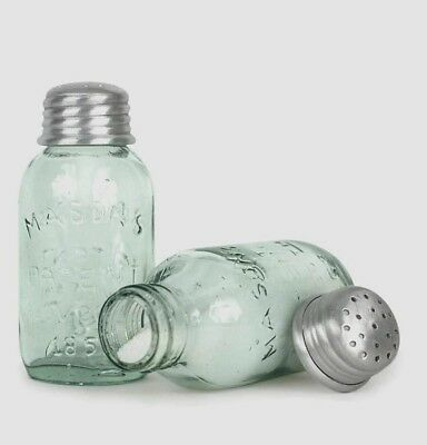 Mason Jar Salt & Pepper Shakers Pale Green Glass Vintage Style Repro Farmhouse
