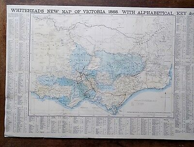 1868 Whitehead Map Victoria Australia Old Antique Gold Geology Vegitation SCARCE