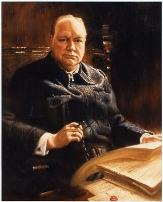 Sir Winston Churchill -- Handpainted Oil on Canvas -- Frank O. Salisbury
